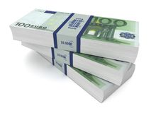 Euro money bills 3d illustration Royalty Free Stock Image