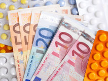 Euro money bills and  pills Royalty Free Stock Photography
