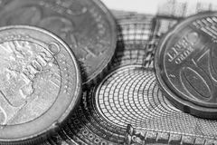 Euro money black and white photography. Royalty Free Stock Images