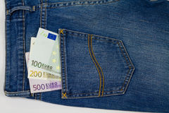 Euro money in a blue jeans Royalty Free Stock Photos