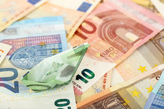 Euro money boat Stock Image