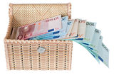Euro money in a box . Euro money in a box on a white background Royalty Free Stock Images