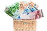 Euro money in a box . Euro money in a box on a white background Royalty Free Stock Image