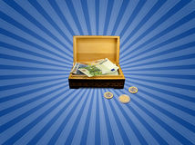 Euro money in box. Conceptual illustration. Euro money in brown box Stock Photos