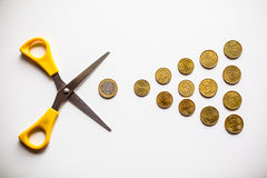 Euro money budget cuts. Association budget cuts in the euro money Royalty Free Stock Photo