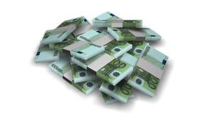 Euro money bundles on white stock video