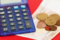 Euro money and calculator Royalty Free Stock Photo