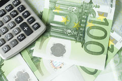 Euro money and calculator. Background Euro money and calculator Stock Photography