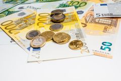 Euro Money. euro cash background. Euro Banknotes. Different Euro banknotes from 5 to 500 Euro Royalty Free Stock Image