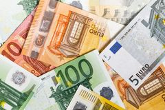 Euro Money. euro cash background. Euro Banknotes. Different Euro banknotes from 5 to 500 Euro Royalty Free Stock Photos