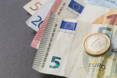 Euro money cash currency on a black background Royalty Free Stock Image