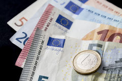 Euro money cash currency on a black background Royalty Free Stock Photography