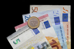 Euro money cash currency on a black background Stock Photography