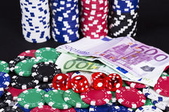 Euro money casino winning hand Royalty Free Stock Image