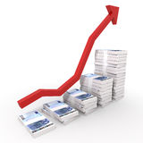 Euro Money Chart. Raising Chart of 20 euro Stacks with a red arrow isolated on white with clipping path Stock Image