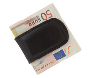 Euro in the money clip Royalty Free Stock Photo