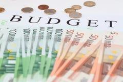Euro money: closeup of banknotes and coins. Euro money: banknotes and coins. Budget concept Royalty Free Stock Photo