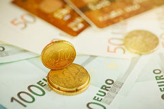 Euro money: closeup of banknotes and coins Stock Image