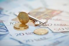 Euro money: closeup of banknotes and coins Royalty Free Stock Photos
