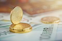 Euro money: closeup of banknotes and coins Royalty Free Stock Photography