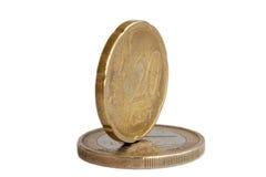Euro money coin. An euro money coin on the white Stock Photo