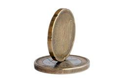 Euro money coin. An euro money coin on the white Stock Photos