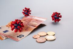 Free Euro Money, Coins And Models Of Covid-19 Virus On Blue Background.Contaminated Infected Cash Money. Economy Crisis Royalty Free Stock Image - 178086156