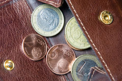 Euro money coins and banknotes. In a purse Royalty Free Stock Photos
