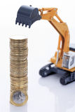 Euro money coins and digger Stock Photography