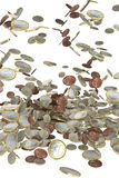 Euro money coins falling Royalty Free Stock Image