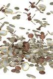 Euro money coins falling Royalty Free Stock Image