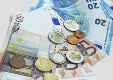Euro money. Euro currency money in coins and banknotes stock images