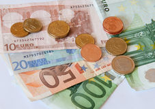 Euro money and coins Royalty Free Stock Image