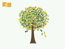 Euro money currency tree vector Royalty Free Stock Image