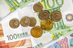 Euro money and czech crown. Close-up Royalty Free Stock Photography