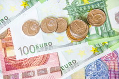 Euro money and czech crown stock photography