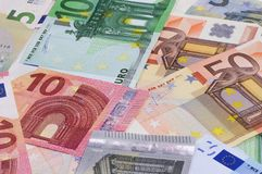 Euro money of different denominations abstract background. Royalty Free Stock Photography