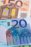 Euro money of different denominations abstract background. Royalty Free Stock Photo