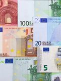 Euro money of different denominations abstract background. Royalty Free Stock Image