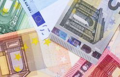 Euro money of different denominations abstract background. Stock Images