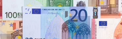 Euro money of different denominations abstract background. Stock Image