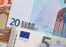 Euro money of different denominations abstract background. Stock Photo