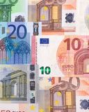 Euro money of different denominations abstract background. Royalty Free Stock Images