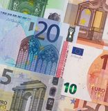 Euro money of different denominations abstract background. Royalty Free Stock Photos