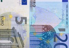 Euro money of different denominations abstract background. Stock Photos