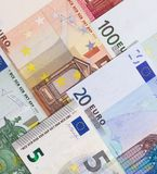 Euro money of different denominations abstract background. Stock Photography