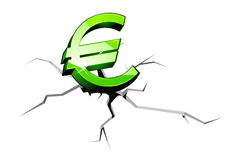 Euro money down. Euro symbol down for crisis or recession concept Royalty Free Stock Photography