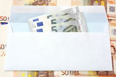 Euro  money in an envelope and cash background Royalty Free Stock Images
