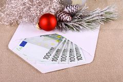 500 euro money in envelope with Christmas deco Royalty Free Stock Photo