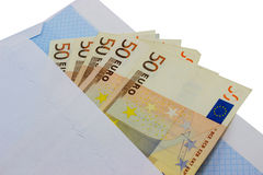 Euro money in envelope Royalty Free Stock Image